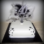 Feathers 40th birthday cake