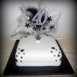 Feathers 40th birthday cake