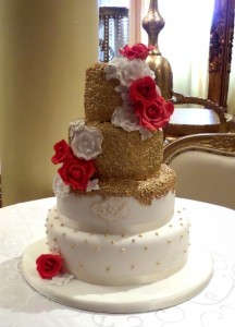 4 tier sequin wedding cake