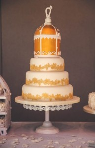 four tier birdcage wedding cake with lace